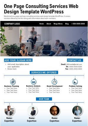 One Page Consulting Services Web Design Template Wordpress Presentation Report Infographic PPT PDF Document