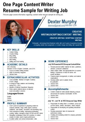 One Page Content Writer Resume Sample For Writing Job Presentation Report Infographic PPT PDF Document
