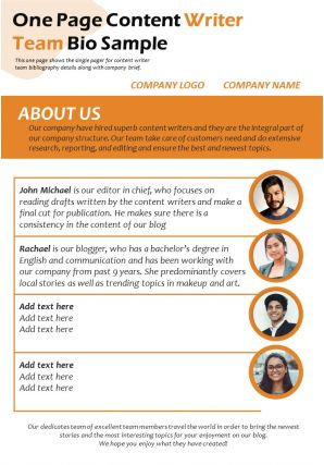 One Page Content Writer Team Bio Sample Presentation Report Infographic PPT PDF Document