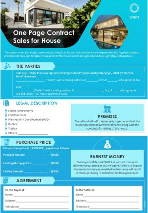 One Page Contract Sales For House Presentation Report Infographic PPT PDF Document
