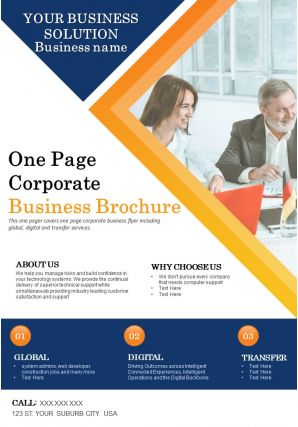 One Page Corporate Business Brochure Presentation Report Infographic PPT PDF Document