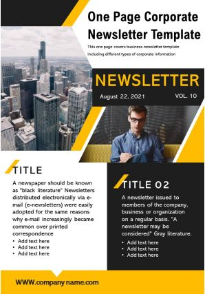 One Page Corporate Newsletter Template Presentation Report Infographic PPT PDF Document