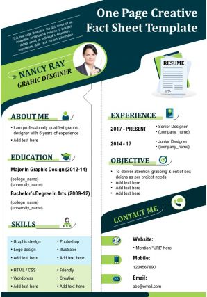 One Page Creative Fact Sheet Template Presentation Report Infographic PPT PDF Document