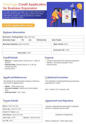 One Page Credit Application For Business Expansion Presentation Report Infographic Ppt Pdf Document