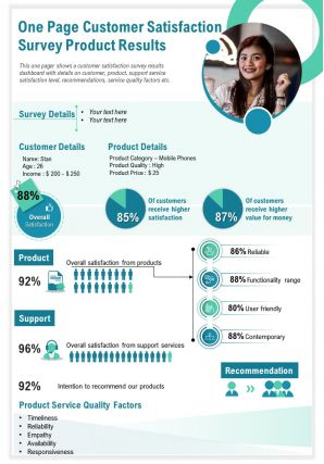 One Page Customer Satisfaction Survey Product Results Presentation Report Infographic PPT PDF Document