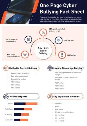 One Page Cyber Bullying Fact Sheet Presentation Report Infographic PPT PDF Document