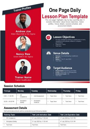 One Page Daily Lesson Plan Template Presentation Report Infographic PPT PDF Document