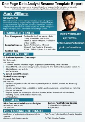 One Page Data Analyst Resume Template Report Presentation Report Infographic PPT PDF Document