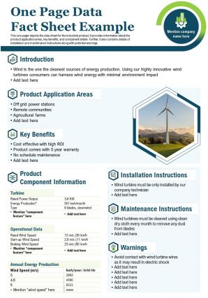 One Page Data Fact Sheet Example Presentation Report Infographic PPT PDF Document