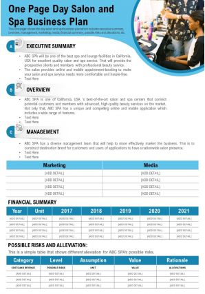 One Page Day Salon And Spa Business Plan Presentation Report Infographic PPT PDF Document