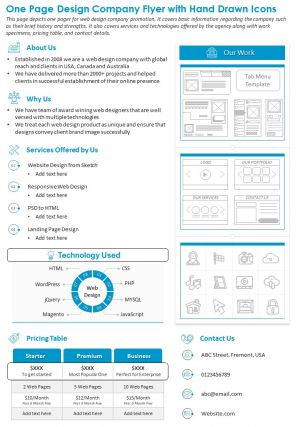 One Page Design Company Flyer With Hand Drawn Icons Presentation Report PPT PDF Document