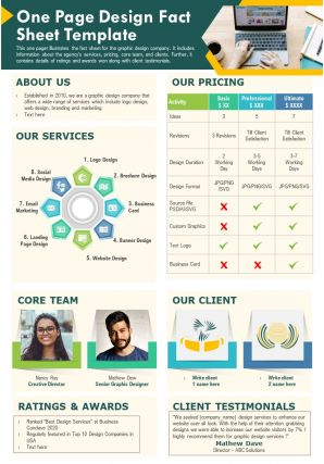 One Page Design Fact Sheet Template Presentation Report Infographic Ppt Pdf Document