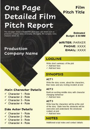 One Page Detailed Film Pitch Report Presentation Report Infographic PPT PDF Document