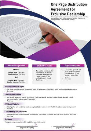 One Page Distribution Agreement For Exclusive Dealership Presentation Report Infographic PPT PDF Document