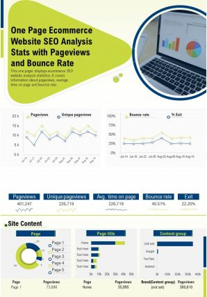 One Page Ecommerce Website SEO Analysis Stats With Pageviews And Bounce Rate PPT PDF Document