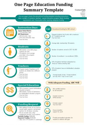 One Page Education Funding Summary Template Presentation Report Infographic PPT PDF Document
