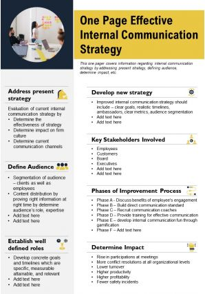 One Page Effective Internal Communication Strategy Presentation Report Infographic PPT PDF Document