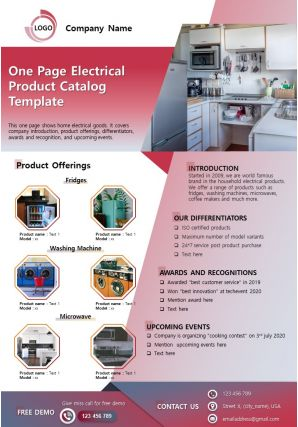 One Page Electrical Product Catalog Template Presentation Report Infographic PPT PDF Document