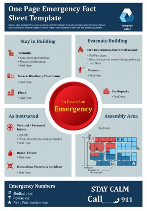 One Page Emergency Fact Sheet Template Presentation Report Infographic Ppt Pdf Document