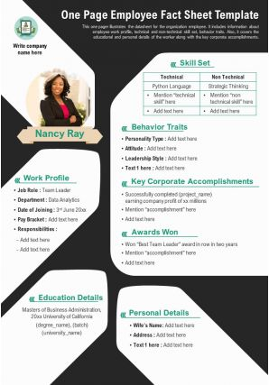 One Page Employee Fact Sheet Template Presentation Report Infographic PPT PDF Document