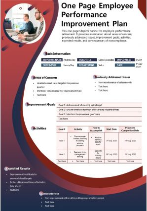 One Page Employee Performance Improvement Plan Presentation Report Infographic PPT PDF Document