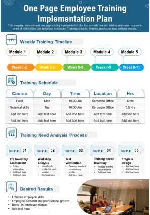 One Page Employee Training Implementation Plan Presentation Report Infographic PPT PDF Document