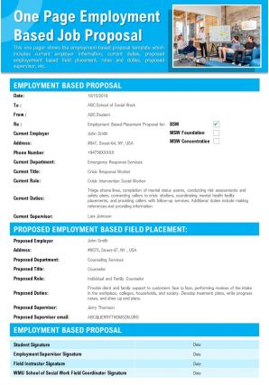 One Page Employment Based Job Proposal Presentation Report Infographic PPT PDF Document
