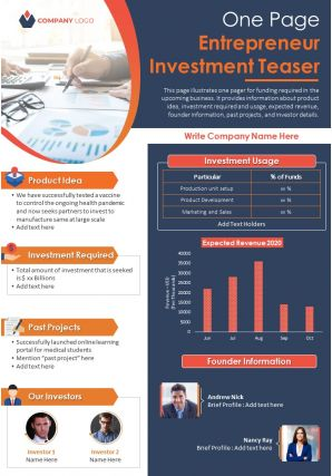 One Page Entrepreneur Investment Teaser Presentation Report Infographic PPT PDF Document