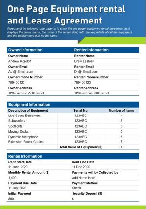 One Page Equipment Rental And Lease Agreement Presentation Report Infographic PPT PDF Document