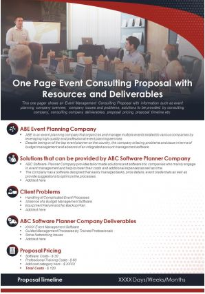 One Page Event Consulting Proposal With Resources And Deliverables Report Infographic PPT PDF Document