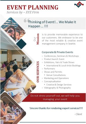 One Page Event Management Firm Brochure Template