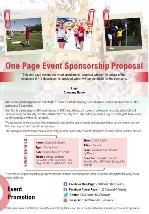 One Page Event Sponsorship Proposal Presentation Report Infographic PPT PDF Document