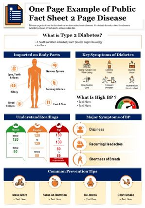 One Page Example Of Public Fact Sheet 2 Page Disease Presentation Report PPT PDF Document