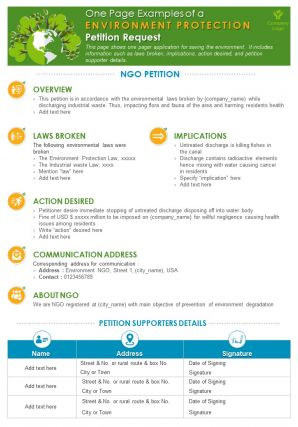 One Page Examples Of A Environment Protection Petition Request Presentation Report Infographic PPT PDF Document