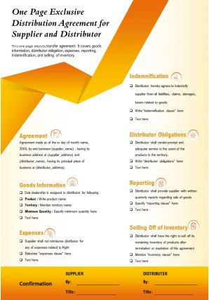 One Page Exclusive Distribution Agreement For Supplier And Distributor Report Infographic PPT PDF Document