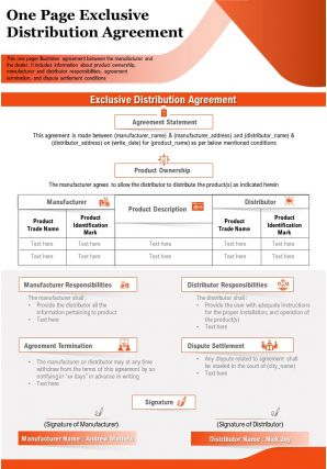 One Page Exclusive Distribution Agreement Presentation Report Infographic PPT PDF Document