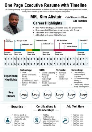 One Page Executive Resume With Timeline Presentation Report Infographic PPT PDF Document