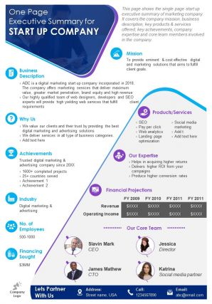 One Page Executive Summary For Start Up Company Presentation Report Infographic PPT PDF Document
