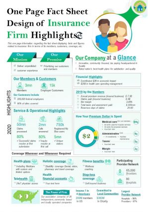 One Page Fact Sheet Design Of Insurance Firm Highlights Report PPT PDF Document