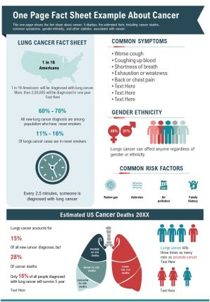 One Page Fact Sheet Example About Cancer Presentation Report Infographic PPT PDF Document