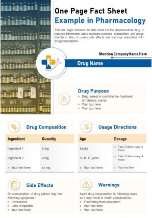 One Page Fact Sheet Example In Pharmacology Presentation Report Infographic PPT PDF Document