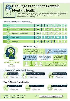 One Page Fact Sheet Example Mental Health Presentation Report Infographic PPT PDF Document
