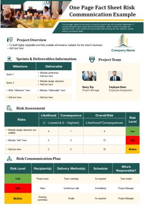 One Page Fact Sheet Risk Communication Example Presentation Report Infographic Ppt Pdf Document