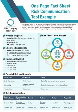 One Page Fact Sheet Risk Communication Tool Example Presentation Report PPT PDF Document