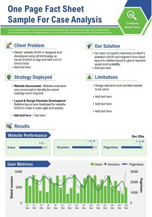 One Page Fact Sheet Sample For Case Analysis Presentation Report Infographic PPT PDF Document