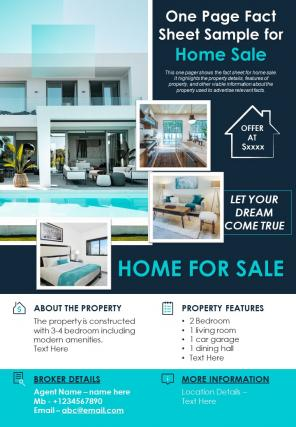 One Page Fact Sheet Sample For Home Sale Presentation Report Infographic PPT PDF Document