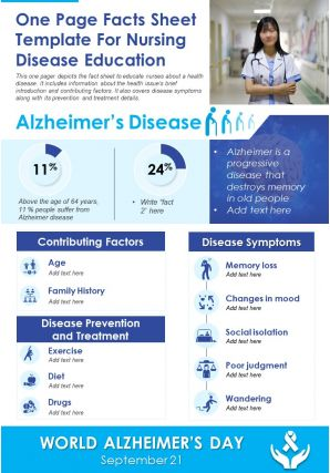 One Page Facts Sheet Template For Nursing Disease Education Report PPT PDF Document