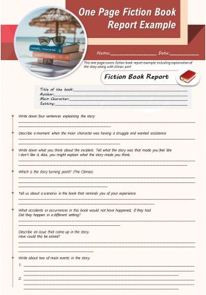 One Page Fiction Book Report Example Presentation Report Infographic Ppt Pdf Document