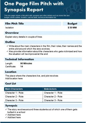 One Page Film Pitch With Synopsis Report Presentation Report Infographic PPT PDF Document
