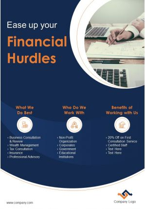 One Page Financial Services Brochure Template